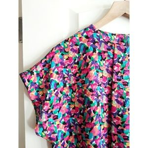 Vintage Abstract Notations Multicolored Top!